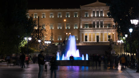 syntagma square at night, athens, greece 영상물