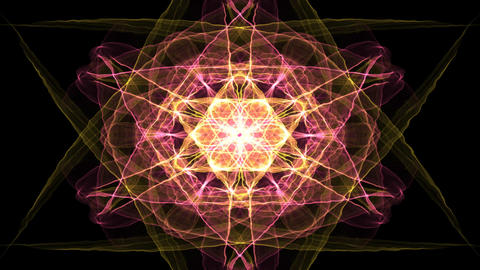 Glowing fiery fractal in red and orange, fata morgana style, star shape on black Animación