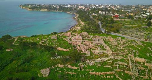 Aerial view of Temple of Apollo (Hill of Kolona) on Aegina island, Greece Footage