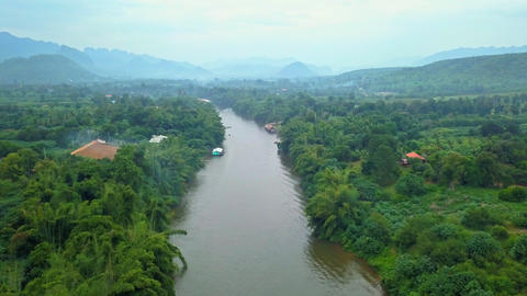 Aerial shot of Kwai river in Thailand Footage