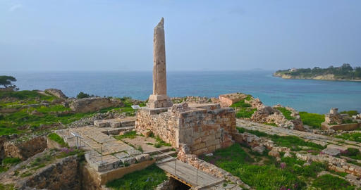 Aerial view of Temple of Apollo (Hill of Kolona) on Aegina island, Greece Footage