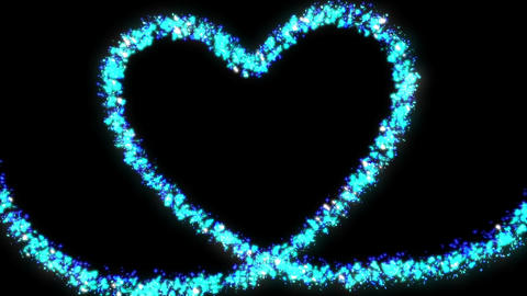 blue glitter a heart made of stars and hearts Animation