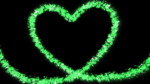 Green glitter a heart made of stars and hearts Animation
