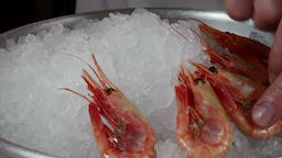 The cook prepares dish of boiled shrimp on ice Footage