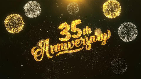 35th happy anniversary Celebration, Wishes, Greeting Text on Golden Firework Animation