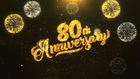 80th happy anniversary Celebration, Wishes, Greeting Text on Golden Firework Animation