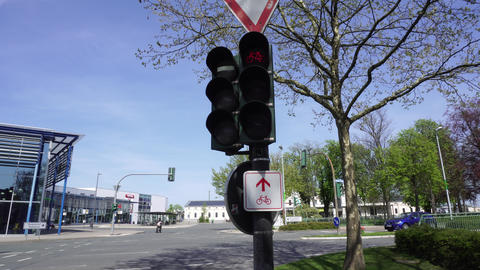 Bicycle Traffic Signal Changing Lights, Semaphore In Germany Footage