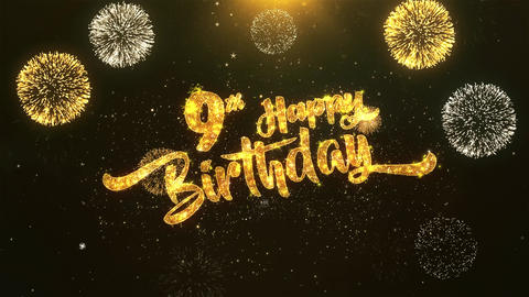 9th Happy birthday Celebration, Wishes, Greeting Text on Golden Firework Animation