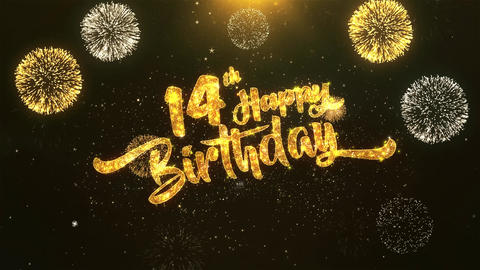 14th Happy birthday Celebration, Wishes, Greeting Text on Golden Firework Animation