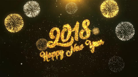 2018 Happy New Year Celebration, Wishes, Greeting Text on Golden Firework Animation
