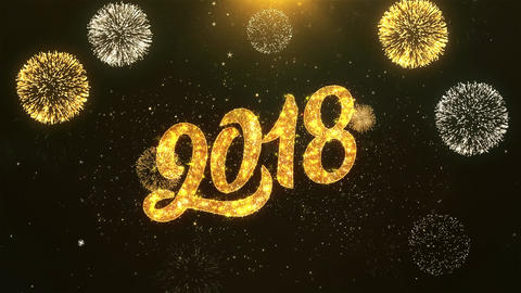 Happy New Year 2018 Celebration, Wishes, Greeting Text on Golden Firework Animation
