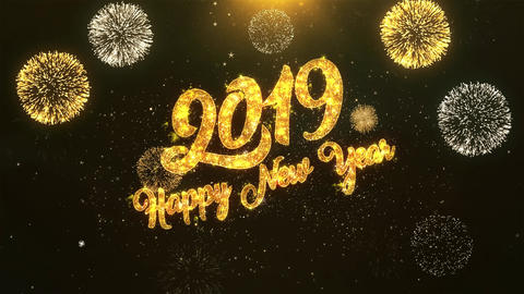 2019 Happy New Year Celebration, Wishes, Greeting Text on Golden Firework Animation