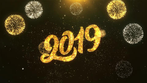 Happy New Year 2019 Celebration, Wishes, Greeting Text on Golden Firework Animation
