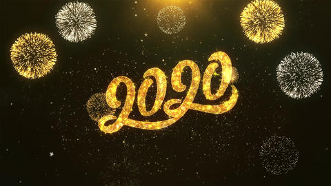 Happy New Year 2020 Celebration, Wishes, Greeting Text on Golden Firework Animation