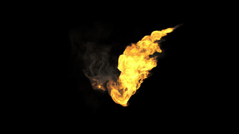 Realistic Stream of fire with alpha channel Animation