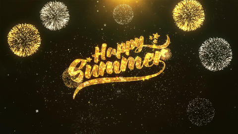 Happy Summer Celebration, Wishes, Greeting Text on Golden Firework Animation