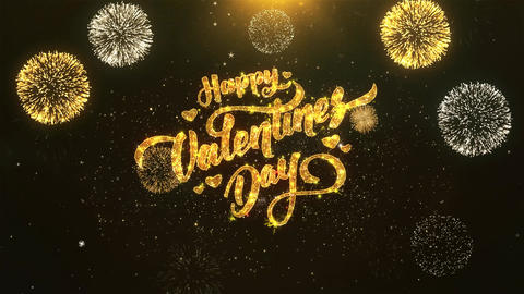 happy valentine day Celebration, Wishes, Greeting Text on Golden Firework Animation