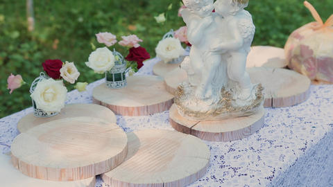 Registration of wedding places, floristics, accessories for weddings. sunny day Live Action