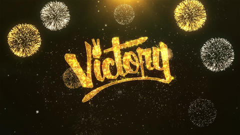 Victory Celebration, Wishes, Greeting Text on Golden Firework Animation