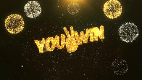 You win Celebration, Wishes, Greeting Text on Golden Firework Animation
