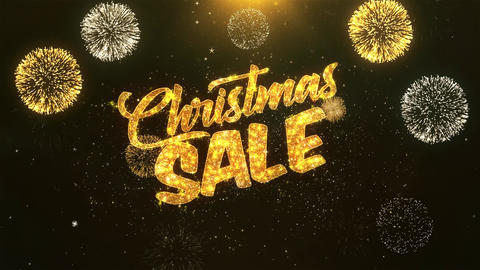 Christmas Sale Celebration, Wishes, Greeting Text on Golden Firework Animation