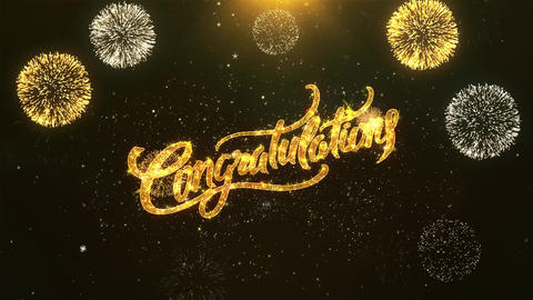 Congratulations Celebration, Wishes, Greeting Text on Golden Firework Animation