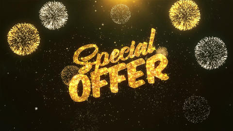 special offer Celebration, Wishes, Greeting Text on Golden Firework Animation