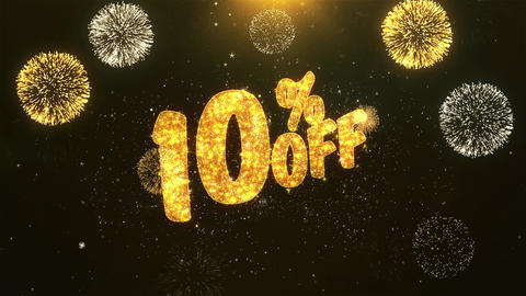 10% off Celebration, Wishes, Greeting Text on Golden Firework Animation