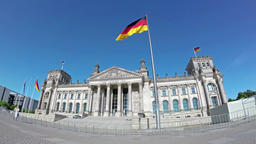 German Flag In Front of The Berlin Reichstag In Summer, Fish-Eye Filmmaterial