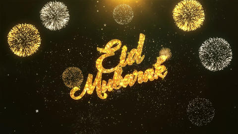 Eid Mubarak Celebration, Wishes, Greeting Text on Golden Firework Animation