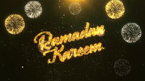 Ramadan Kareem Celebration, Wishes, Greeting Text on Golden Firework Animation