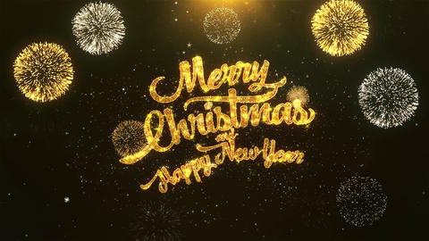 Merry Christmas and Happy New Year Celebration, Wishes, Greeting Text on Golden Animation