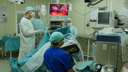 Abdominal laparoscopy on professional medical equipment in operating room Footage