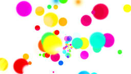 Fountain of color dots and color smoke on white background GIF