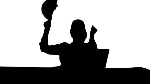 Silhouette Female chief engineer celebrate a successful finish of project Footage