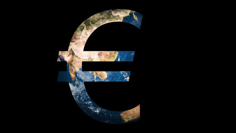 Icon sign logo Euro revealing turning Earth globe Footage