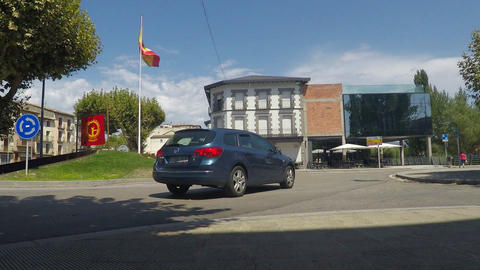Spanish Flag in A Roundabout GIF