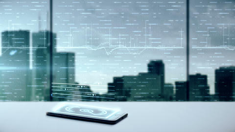 Mobile device projecting a business hologram 영상물