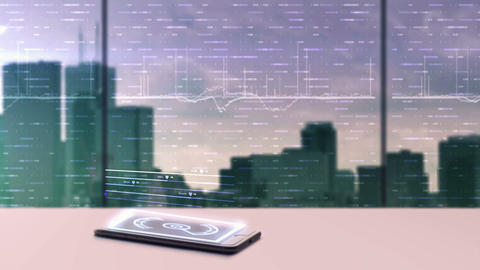 Animation of business data projecting from a mobile device Footage