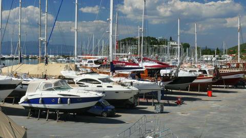 KUSADASI, TURKEY - MAY 2015: yatch dock boat repair marina Footage