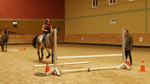 AKYAKA - TURKEY, MAY 2015: Advance horse riding course, jumping practice instruc Footage
