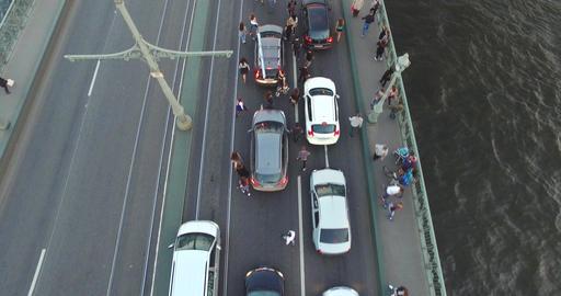 Crowd Walk On The Bridge Between Cars 4k Footage
