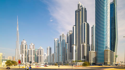 sunny time lapse from dubai business bay Footage