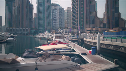 dubai marina boats place time lapse Footage