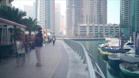 walking street time lapse from dubai marina bay Footage