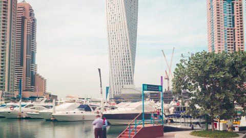 yachts place time lapse from dubai marina Footage