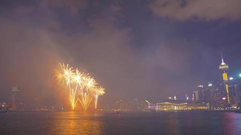 Chinese New Year Fireworks in Hong Kong, timelapse ภาพวิดีโอ
