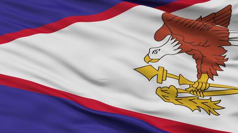 Close Up Waving National Flag of American Samoa Animation