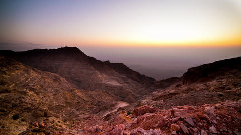 beautiful sunset mountain part of uae time lapse Footage