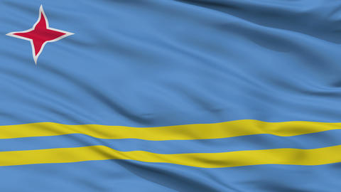 Close Up Waving National Flag of Aruba Animation